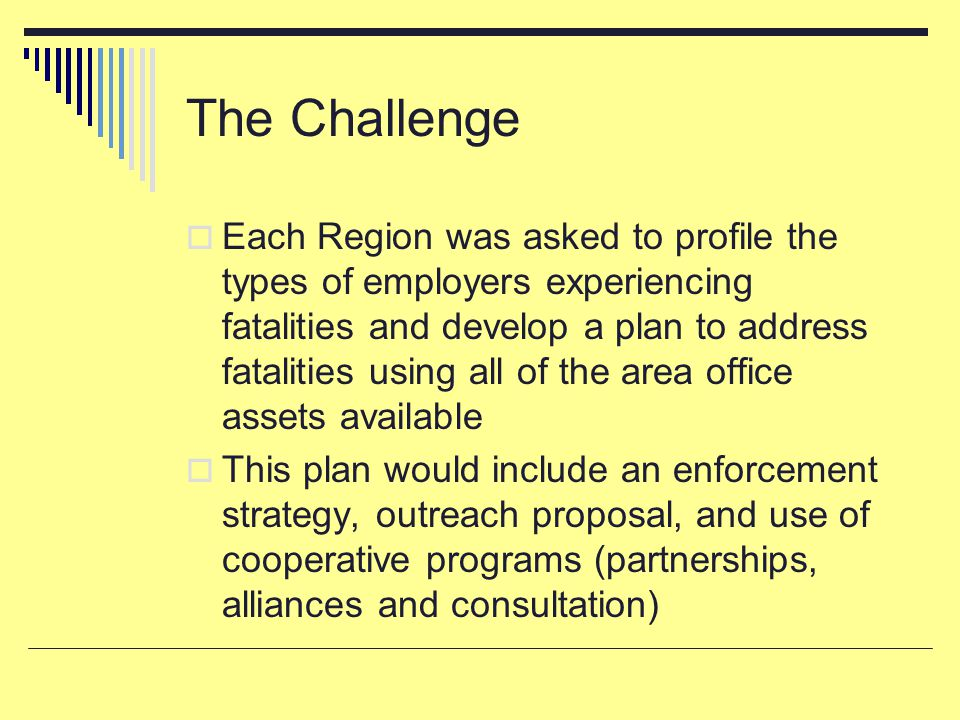 The Challenge  Each Region was asked to profile the types of employers experiencing fatalities and develop a plan to address fatalities using all of the area office assets available  This plan would include an enforcement strategy, outreach proposal, and use of cooperative programs (partnerships, alliances and consultation)