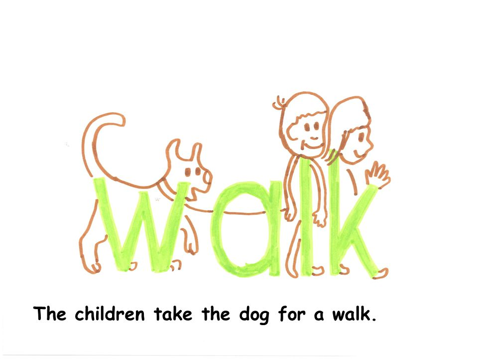 The children take the dog for a walk.