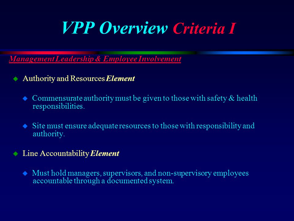 VPP Overview Criteria I Management Leadership & Employee Involvement u Authority and Resources Element u Commensurate authority must be given to those