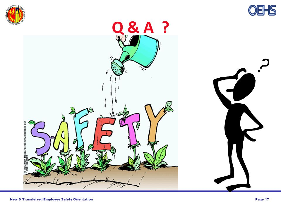 New & Transferred Employee Safety OrientationPage 17 Q & A