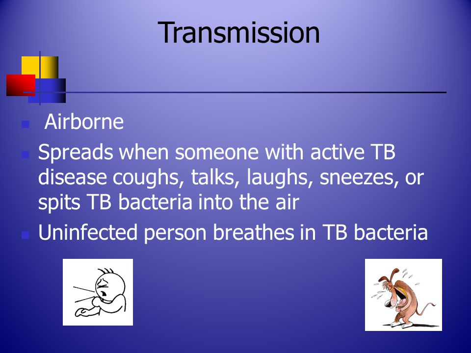 Airborne Spreads when someone with active TB disease coughs, talks, laughs, sneezes, or spits TB bacteria into the air Uninfected person breathes in TB bacteria Transmission