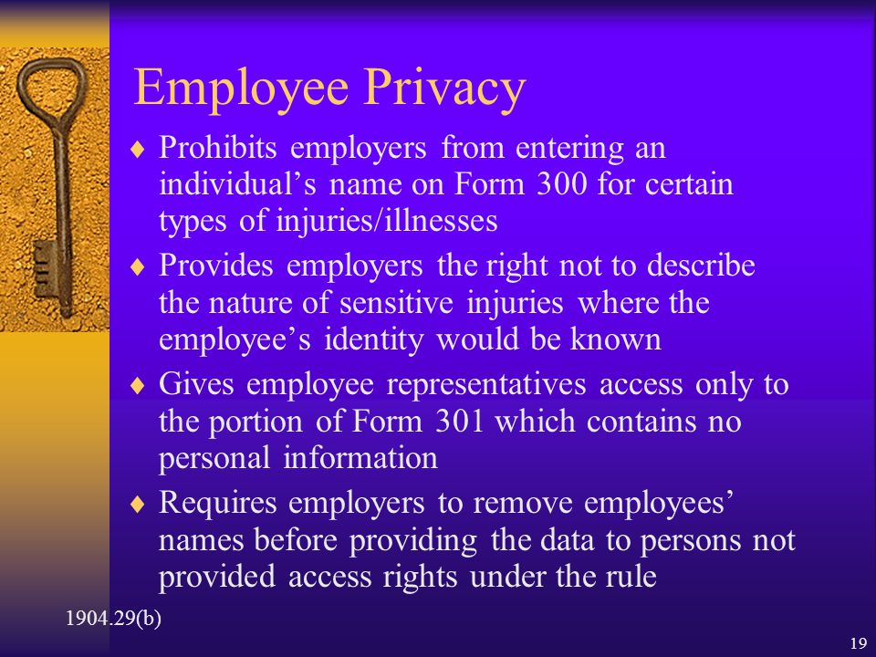 18 Employee Involvement  Requires employers to establish a procedure for employees to report injuries and illnesses and tell their employees how to report  Employers are prohibited from discriminating against employees who do report  Employee representatives will now have access to those parts of the OSHA 301 form relevant to workplace safety and health 1904.35 & 36