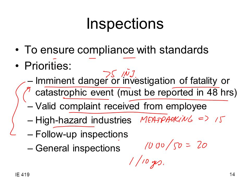 IE 419 14 Inspections To ensure compliance with standards Priorities: –Imminent danger or investigation of fatality or catastrophic event (must be reported in 48 hrs) –Valid complaint received from employee –High-hazard industries –Follow-up inspections –General inspections