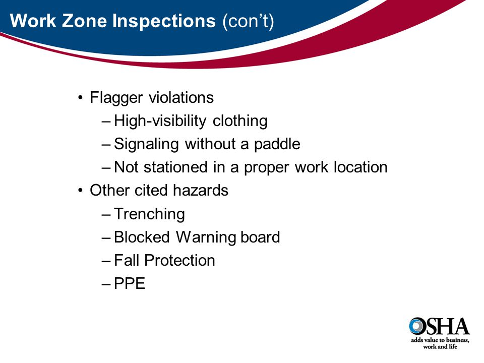 Work Zone Inspections (con't) Flagger violations –High-visibility clothing –Signaling without a paddle –Not stationed in a proper work location Other