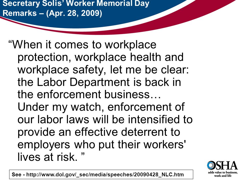 Secretary Solis' Worker Memorial Day Remarks – (Apr.