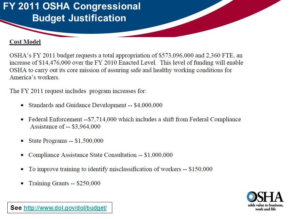 See http://www.dol.gov/dol/budget/ http://www.dol.gov/dol/budget/ FY 2011 OSHA Congressional Budget Justification