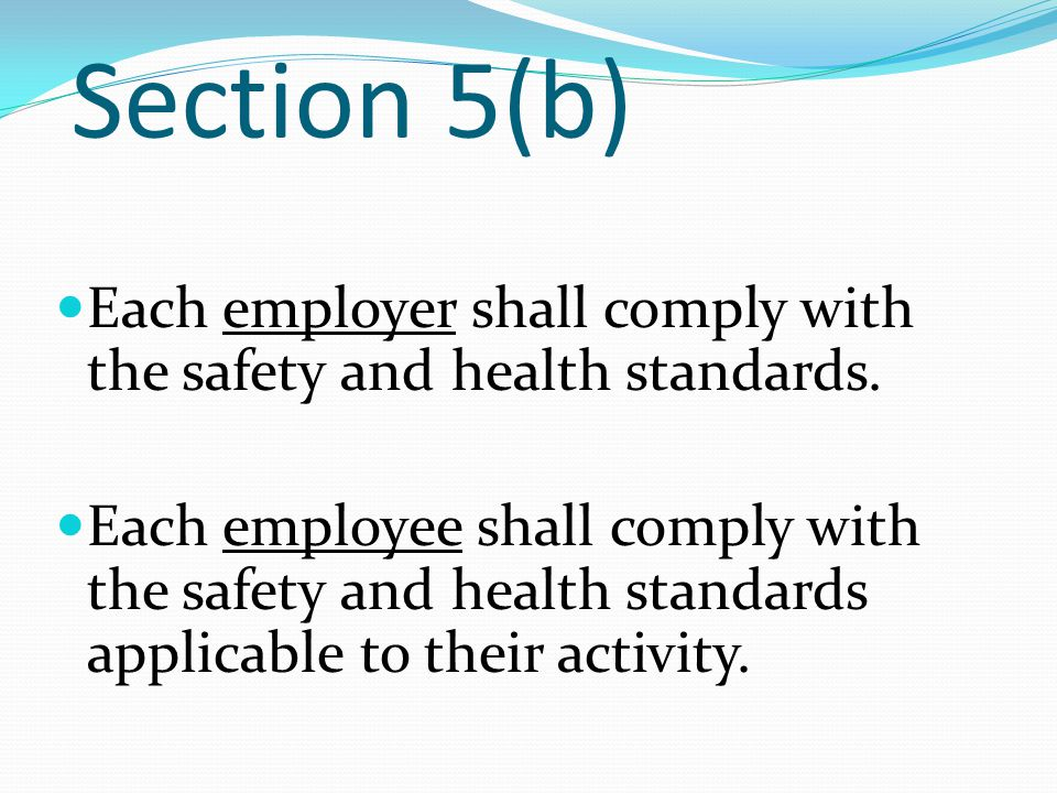 Section 5(b) Each employer shall comply with the safety and health standards.