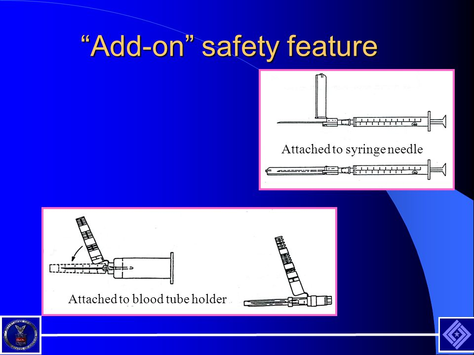 Add-on safety feature Attached to syringe needle Attached to blood tube holder