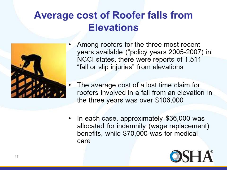"11 Average cost of Roofer falls from Elevations Among roofers for the three most recent years available (""policy years 2005-2007) in NCCI states, ther"