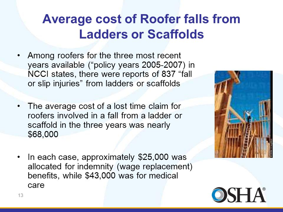 "13 Average cost of Roofer falls from Ladders or Scaffolds Among roofers for the three most recent years available (""policy years 2005-2007) in NCCI st"
