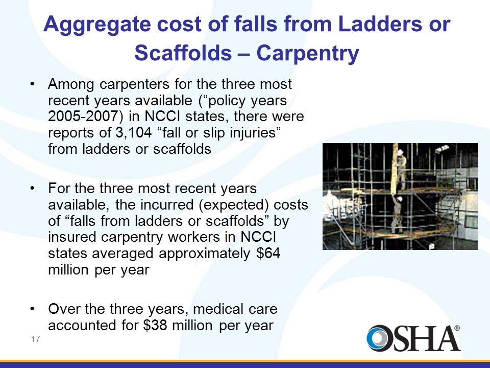 "17 Aggregate cost of falls from Ladders or Scaffolds – Carpentry Among carpenters for the three most recent years available (""policy years 2005-2007)"