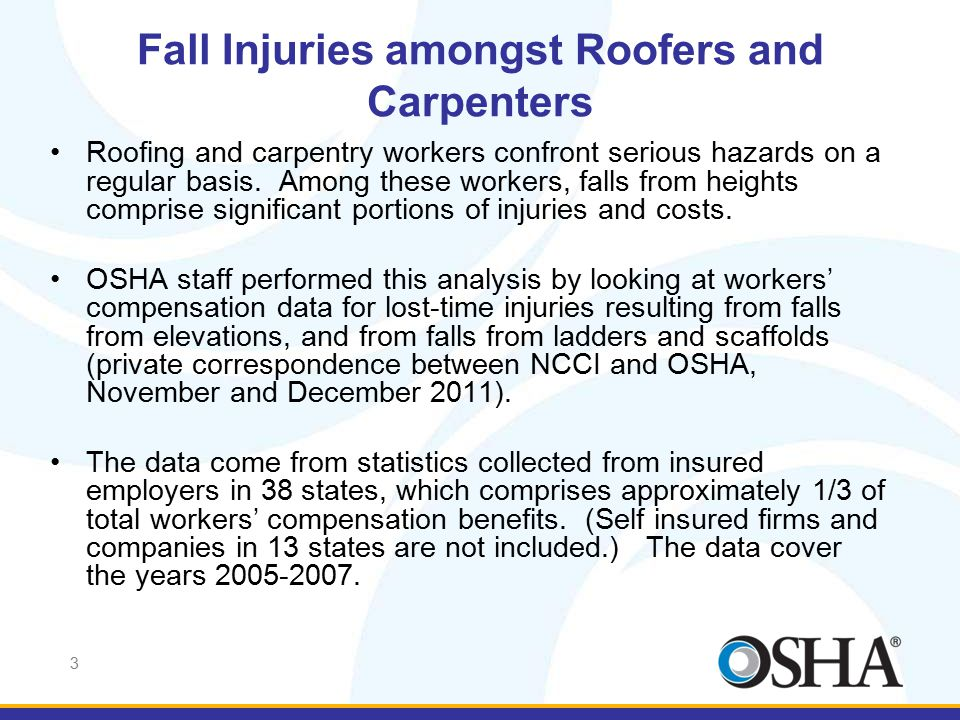 3 Fall Injuries amongst Roofers and Carpenters Roofing and carpentry workers confront serious hazards on a regular basis. Among these workers, falls f