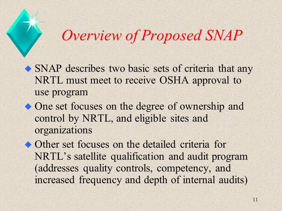 11 Overview of Proposed SNAP u SNAP describes two basic sets of criteria that any NRTL must meet to receive OSHA approval to use program u One set foc