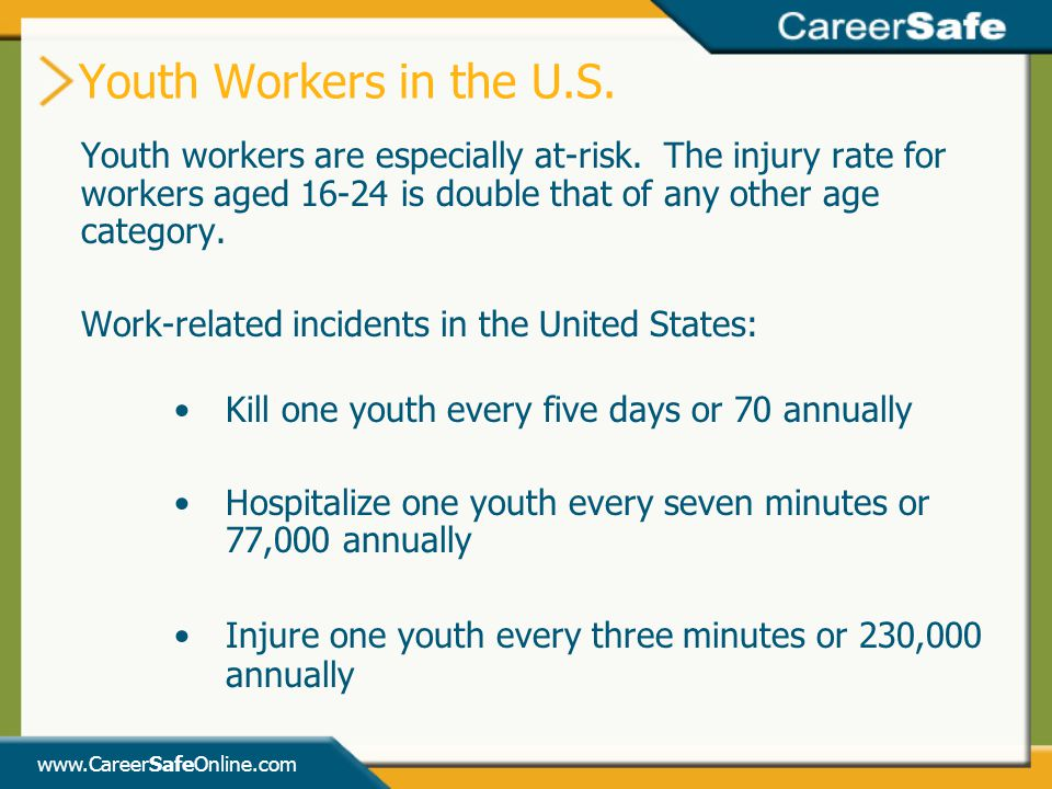 www.CareerSafeOnline.com Youth workers are especially at-risk.