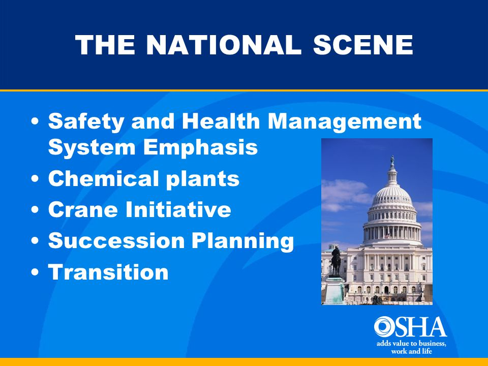 THE NATIONAL SCENE Safety and Health Management System Emphasis Chemical plants Crane Initiative Succession Planning Transition