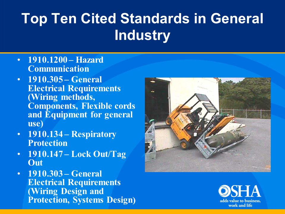 Top Ten Cited Standards in General Industry 1910.1200 – Hazard Communication 1910.305 – General Electrical Requirements (Wiring methods, Components, Flexible cords and Equipment for general use) 1910.134 – Respiratory Protection 1910.147 – Lock Out/Tag Out 1910.303 – General Electrical Requirements (Wiring Design and Protection, Systems Design )