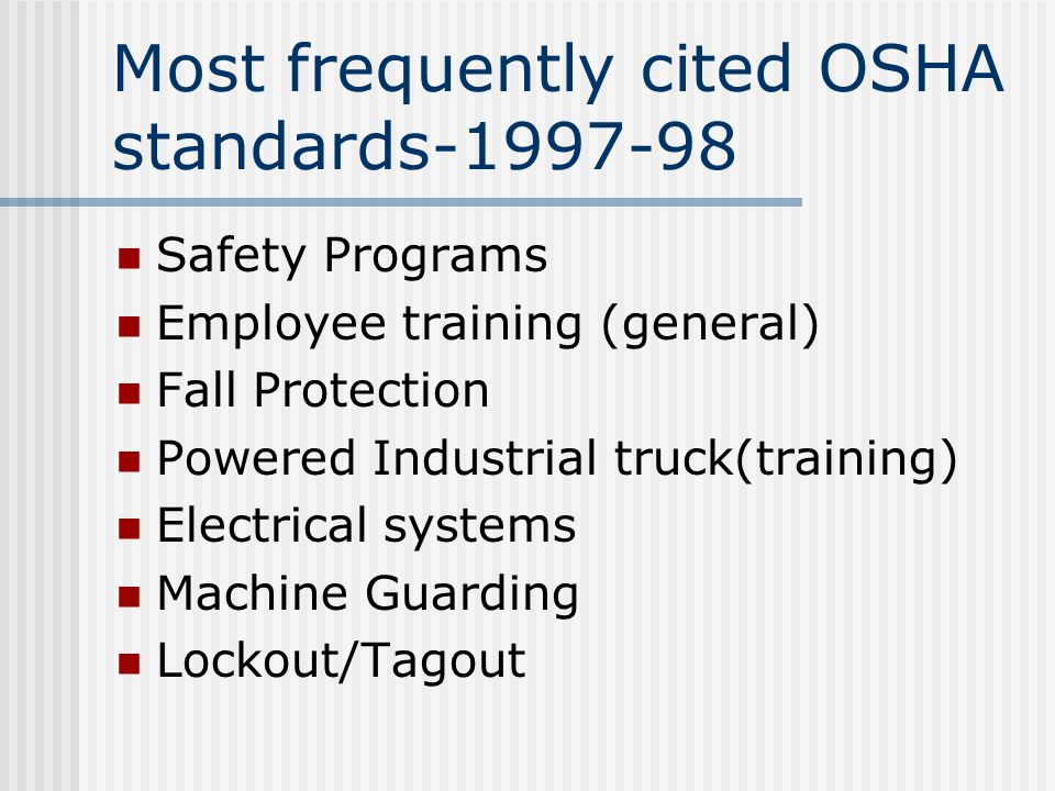 Most frequently cited OSHA standards-1997-98 Safety Programs Employee training (general) Fall Protection Powered Industrial truck(training) Electrical systems Machine Guarding Lockout/Tagout