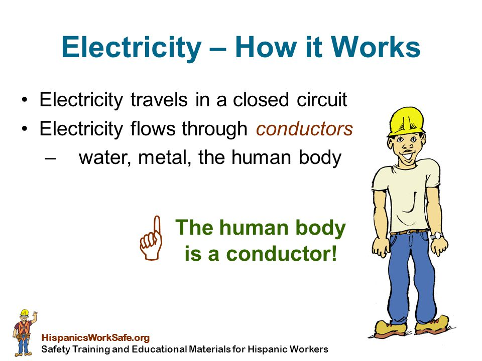 Young Worker Safety Resource Center, adapted from OSHA Office of Training and Education Electrical Shock Received when current passes through the body Severity of the shock depends on:  Path of current through the body  Amount of current flowing through the body  Length of time the body is in the circuit LOW VOLTAGE DOES NOT MEAN LOW HAZARD