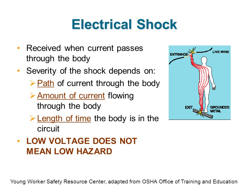 Young Worker Safety Resource Center, adapted from OSHA Office of Training and Education Overload Hazards Too many devices plugged into a circuit  Overheated wires can cause a fire  If insulation melts, arcing could cause a fire, even inside a wall