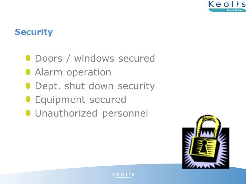 Security Doors / windows secured Alarm operation Dept.