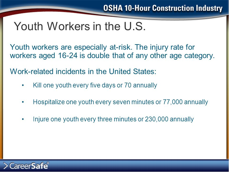 Youth workers are especially at-risk.