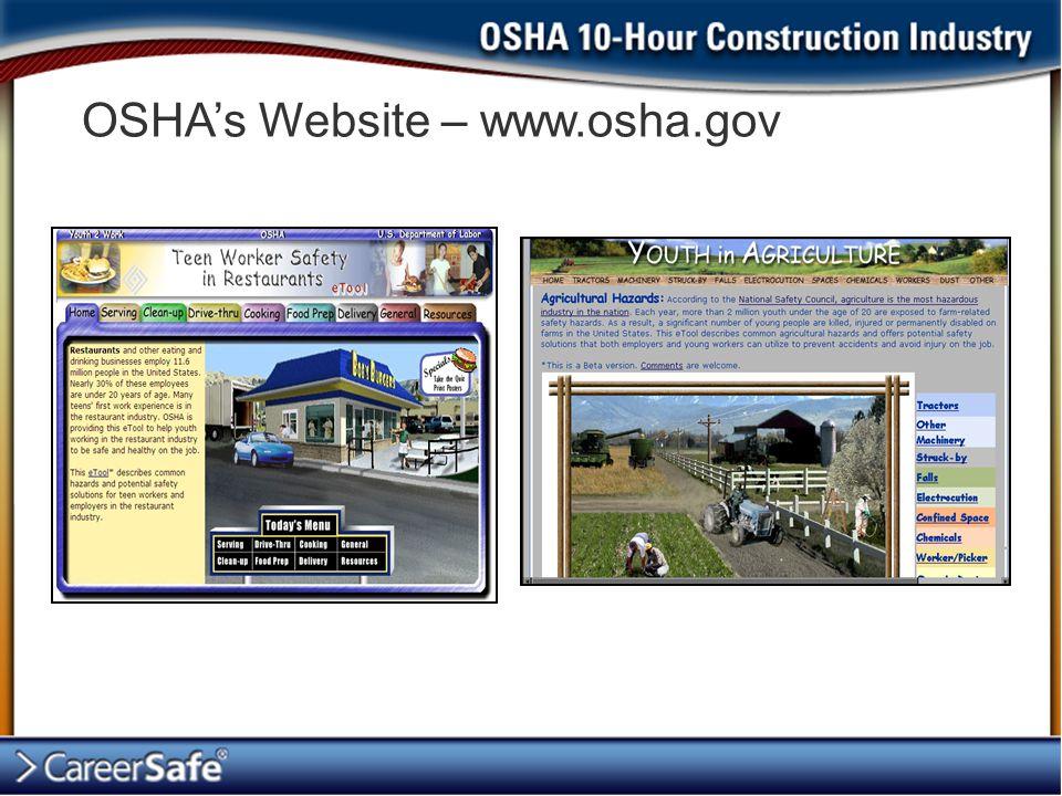 OSHA's Website – www.osha.gov