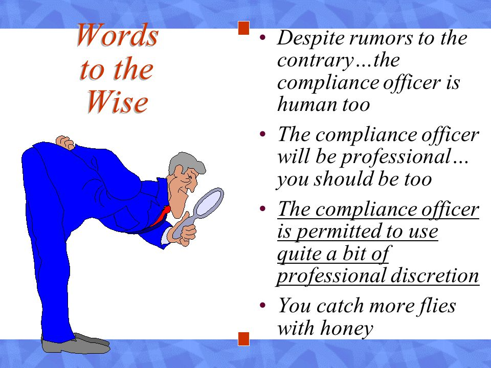 Despite rumors to the contrary…the compliance officer is human too The compliance officer will be professional… you should be too The compliance officer is permitted to use quite a bit of professional discretion You catch more flies with honey Words to the Wise