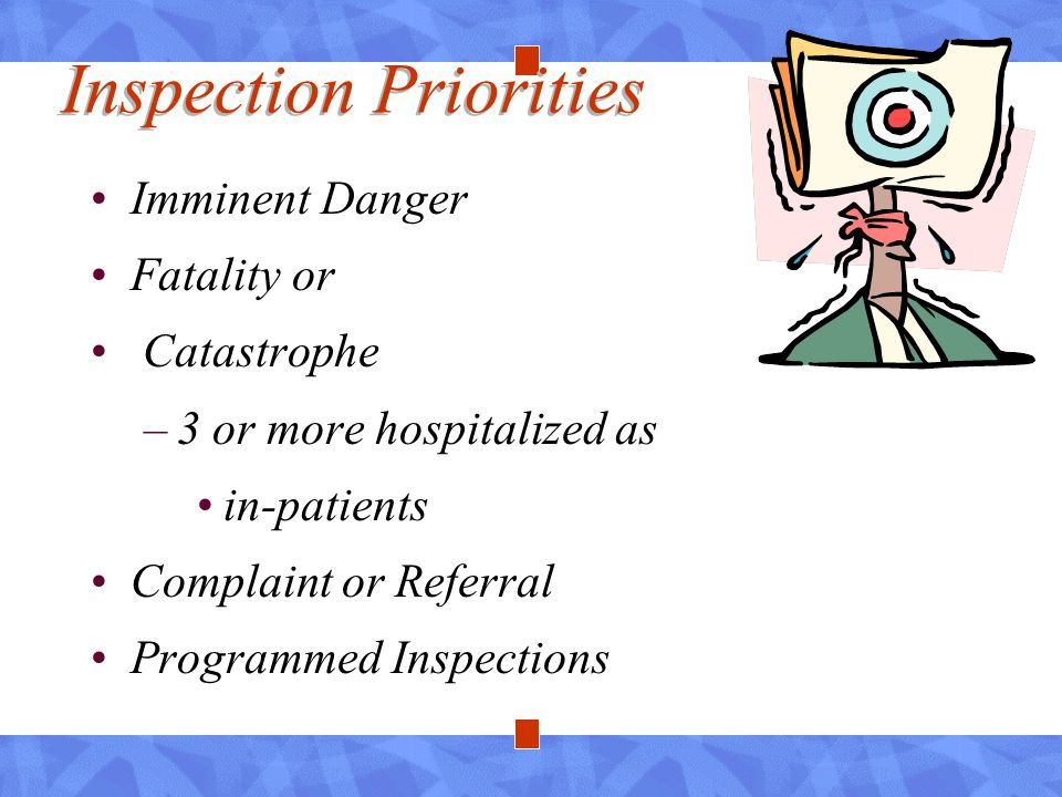 Inspection Priorities Imminent Danger Fatality or Catastrophe –3 or more hospitalized as in-patients Complaint or Referral Programmed Inspections