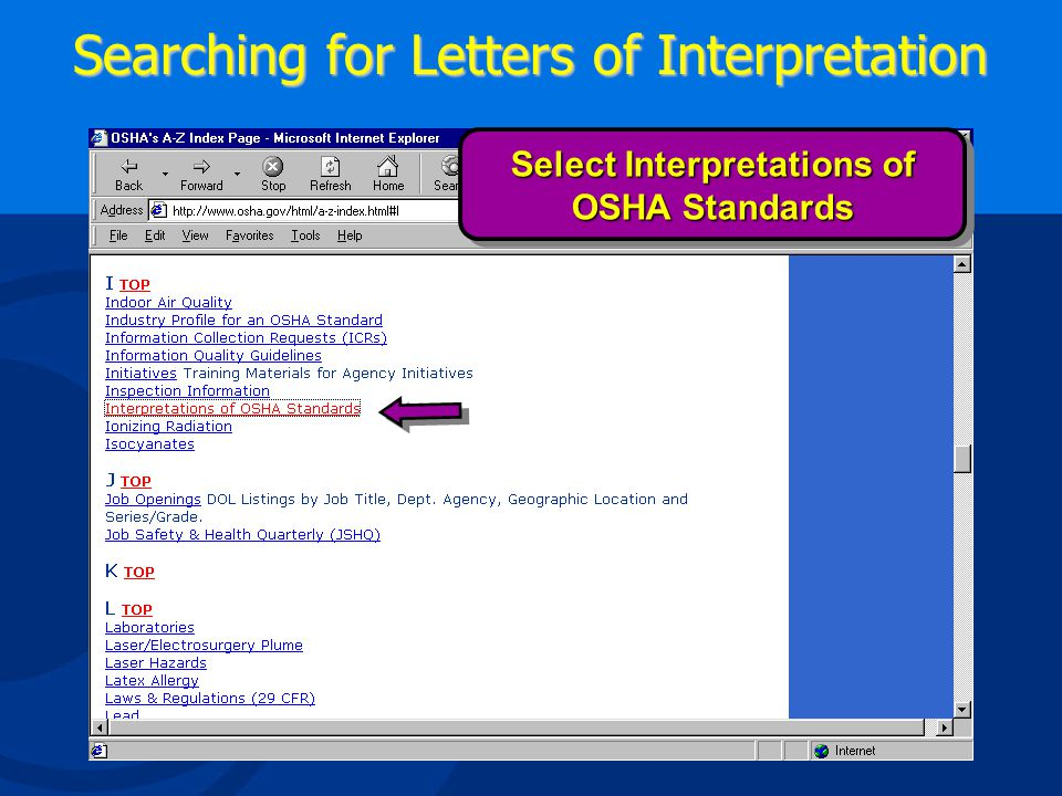 Searching for Letters of Interpretation Use A –Z Site Index