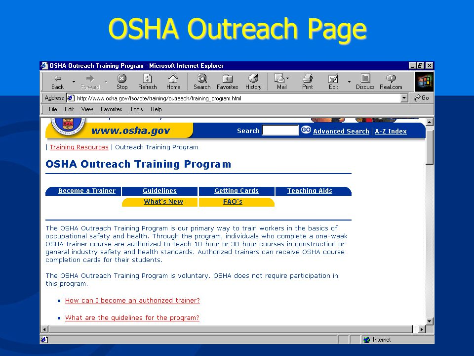 OSHA Compliance Assistance Select link to Outreach Training
