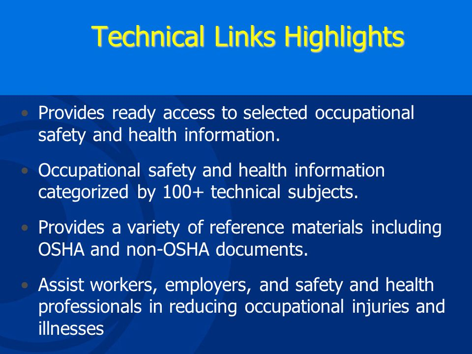OSHA Technical Links Page Provides Info on Evaluation, Compliance and Training