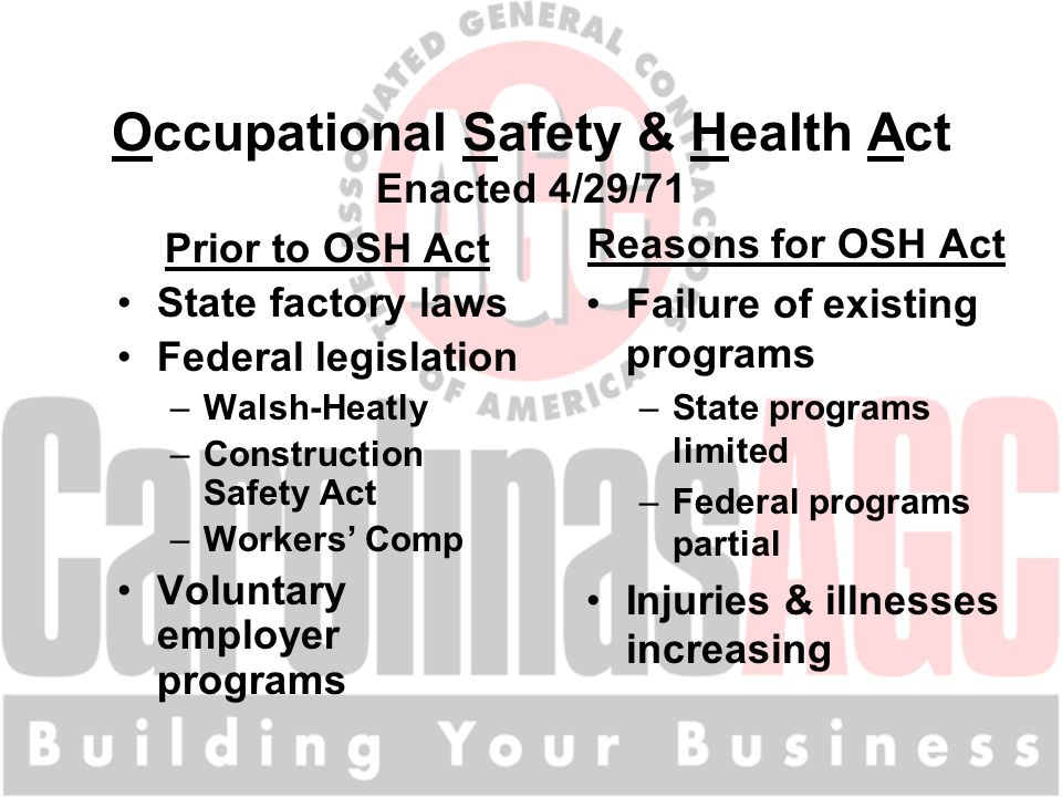 Occupational Safety & Health Act Enacted 4/29/71 Prior to OSH Act State factory laws Federal legislation –Walsh-Heatly –Construction Safety Act –Workers' Comp Voluntary employer programs Reasons for OSH Act Failure of existing programs –State programs limited –Federal programs partial Injuries & illnesses increasing