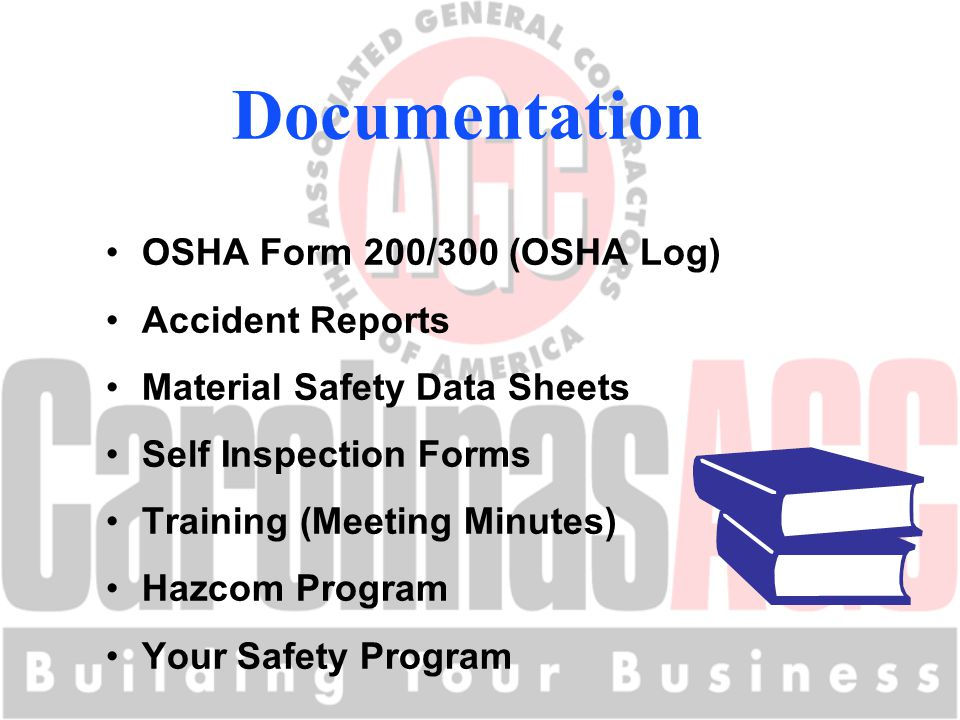 OSHA Form 200/300 (OSHA Log) Accident Reports Material Safety Data Sheets Self Inspection Forms Training (Meeting Minutes) Hazcom Program Your Safety Program Documentation