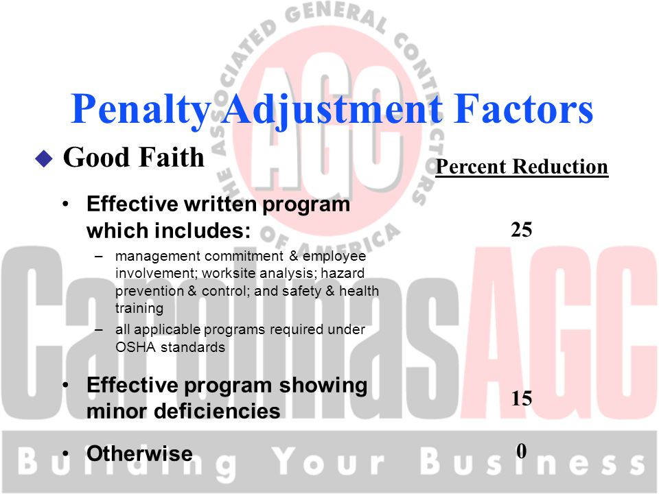 Penalty Adjustment Factors u Good Faith Percent Reduction 25 15 0 Effective written program which includes: –management commitment & employee involvement; worksite analysis; hazard prevention & control; and safety & health training –all applicable programs required under OSHA standards Effective program showing minor deficiencies Otherwise