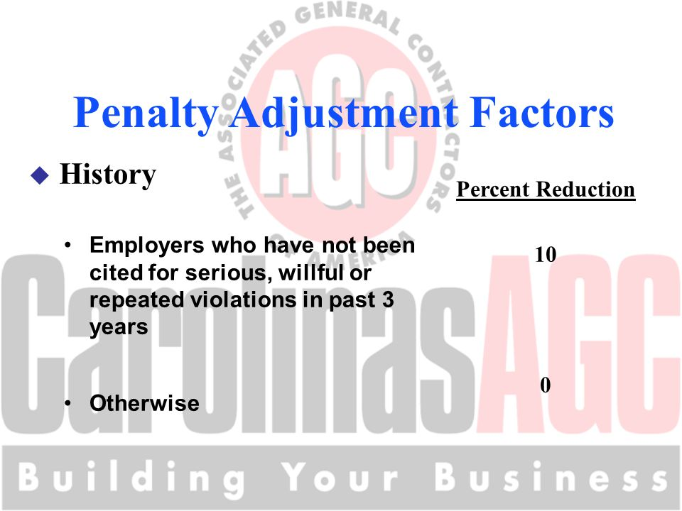 Penalty Adjustment Factors u History Percent Reduction 10 0 Employers who have not been cited for serious, willful or repeated violations in past 3 years Otherwise