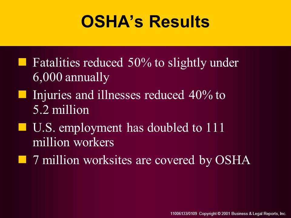 11006133/0109 Copyright © 2001 Business & Legal Reports, Inc. OSHA's Results Fatalities reduced 50% to slightly under 6,000 annually Injuries and illn