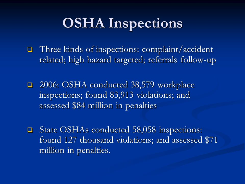 OSHA Inspections (cont.)  Approximately 20% of all inspections are complaint driven or accident related.