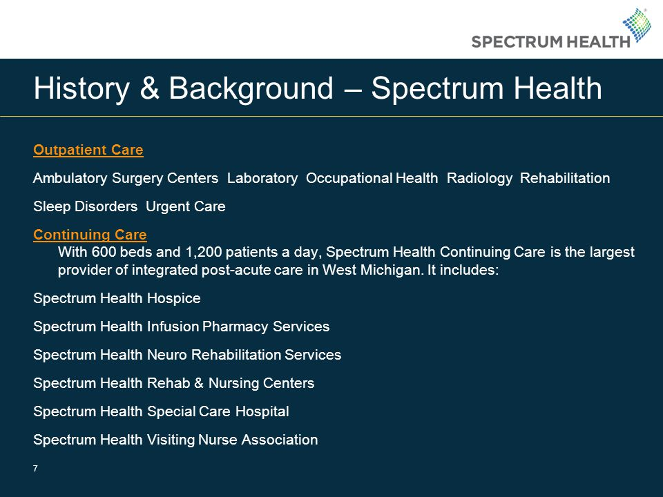 History & Background – Spectrum Health Outpatient Care Ambulatory Surgery Centers Laboratory Occupational Health Radiology Rehabilitation Sleep Disorders Urgent Care Continuing Care Continuing Care With 600 beds and 1,200 patients a day, Spectrum Health Continuing Care is the largest provider of integrated post-acute care in West Michigan.
