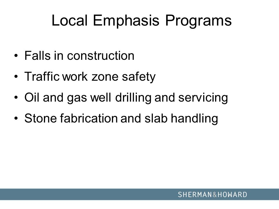 Local Emphasis Programs Falls in construction Traffic work zone safety Oil and gas well drilling and servicing Stone fabrication and slab handling