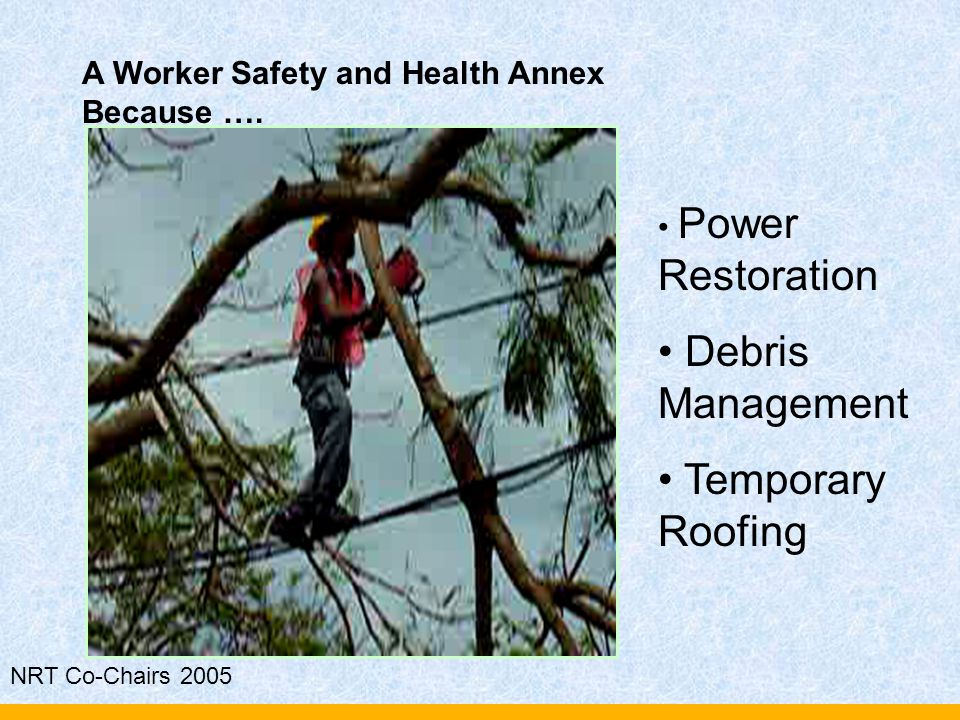 NRT Co-Chairs 2005 A Worker Safety and Health Annex Because …. Power Restoration Debris Management Temporary Roofing