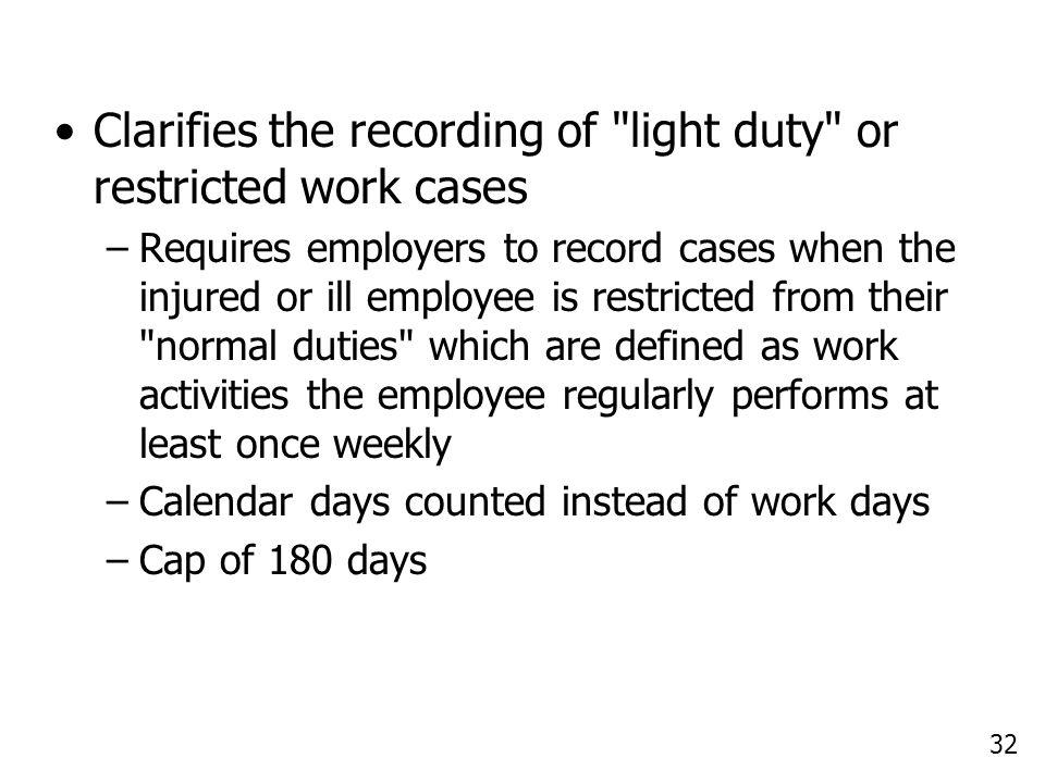 32 Clarifies the recording of