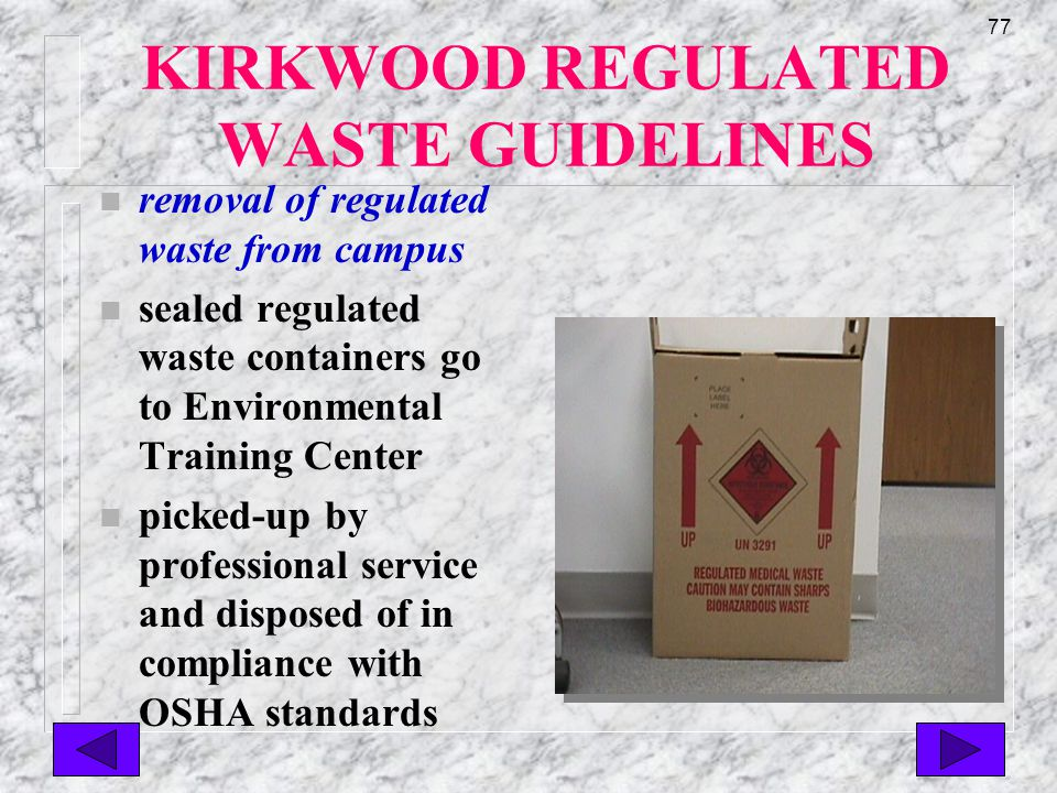 76 KIRKWOOD REGULATED WASTE GUIDELINES n regulated waste disposal n all regulated waste material(s) will be placed in appropriately labeled container by trained staff n biohazard waste containers are in all biohazard areas