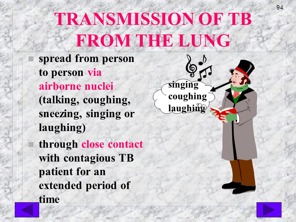 93 TB Disease Characteristics n a positive Mantoux test n a chest x-ray reveals TB infiltration in the lungs n or positive cultures from other infected organs