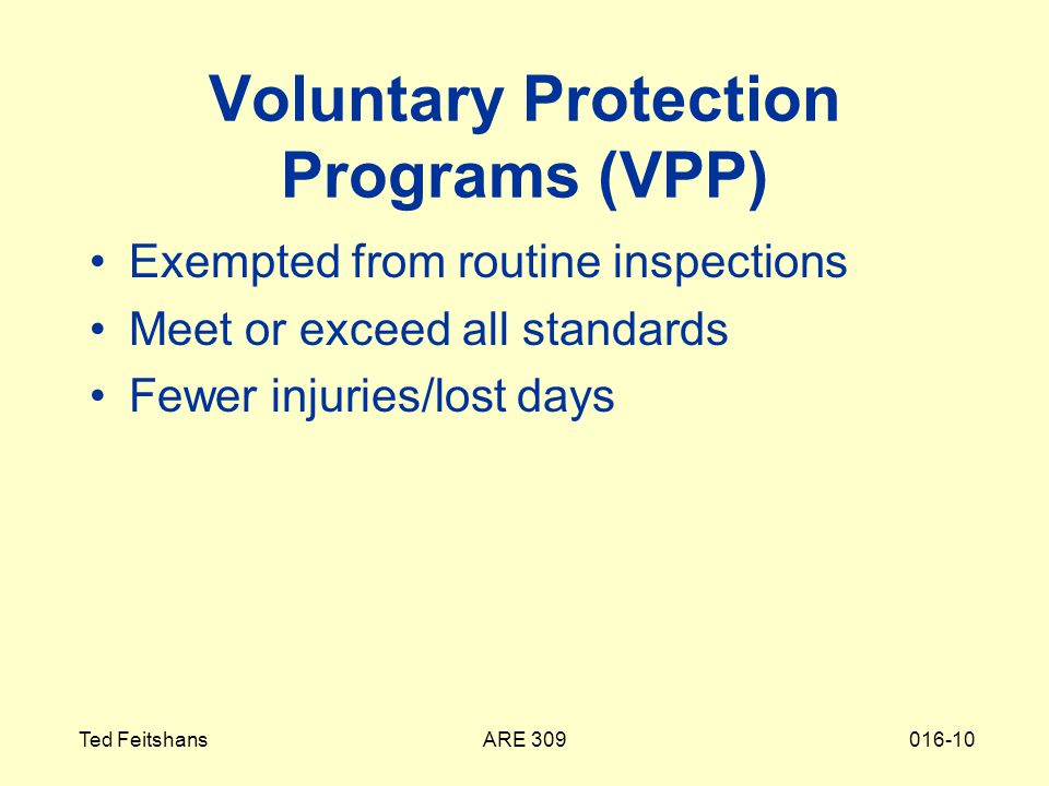ARE 309Ted Feitshans016-10 Voluntary Protection Programs (VPP) Exempted from routine inspections Meet or exceed all standards Fewer injuries/lost days