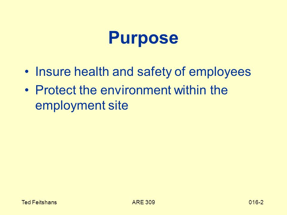 ARE 309Ted Feitshans016-2 Purpose Insure health and safety of employees Protect the environment within the employment site