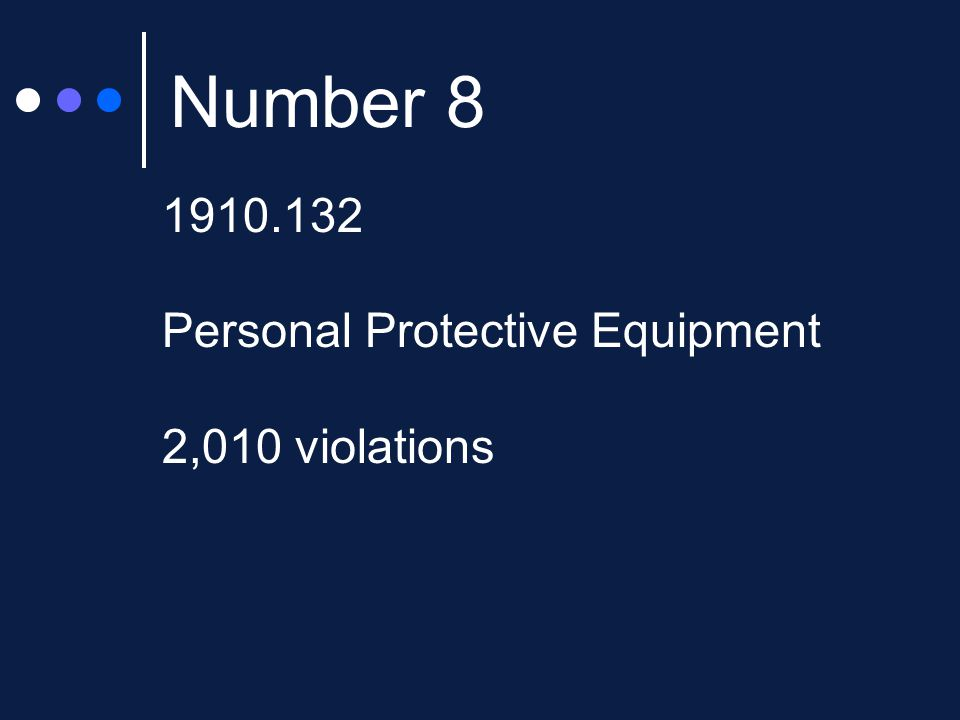 Number 8 1910.132 Personal Protective Equipment 2,010 violations
