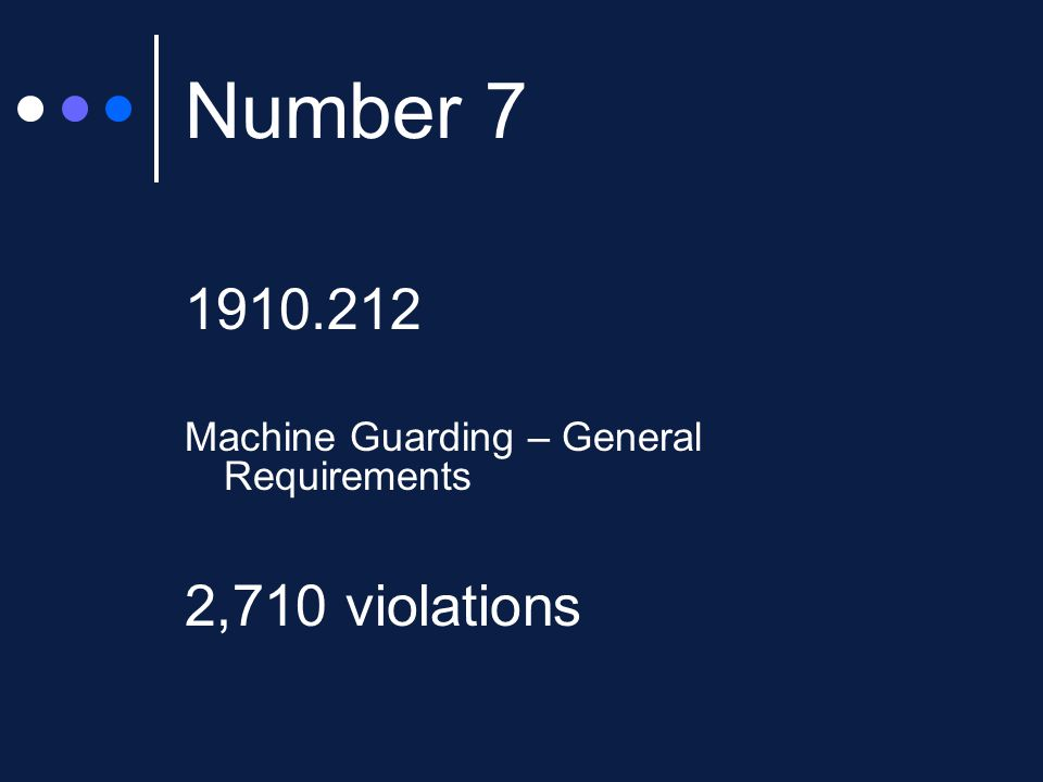 Number 7 1910.212 Machine Guarding – General Requirements 2,710 violations