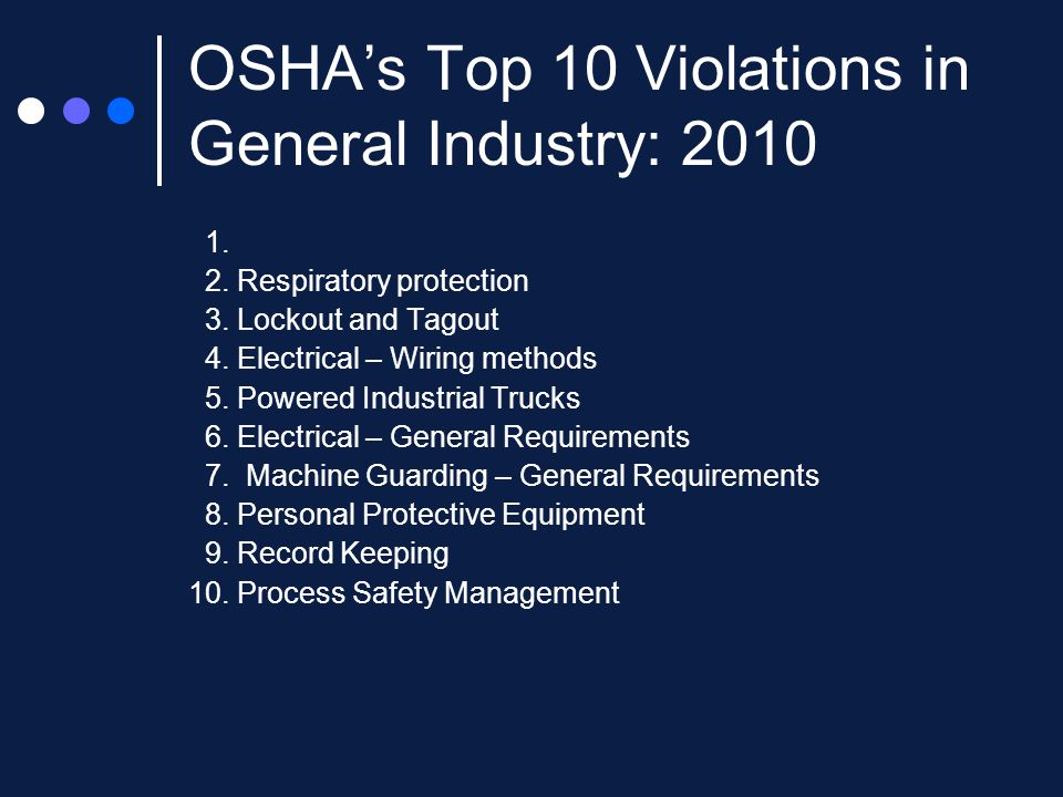 OSHA's Top 10 Violations in General Industry: 2010 1.