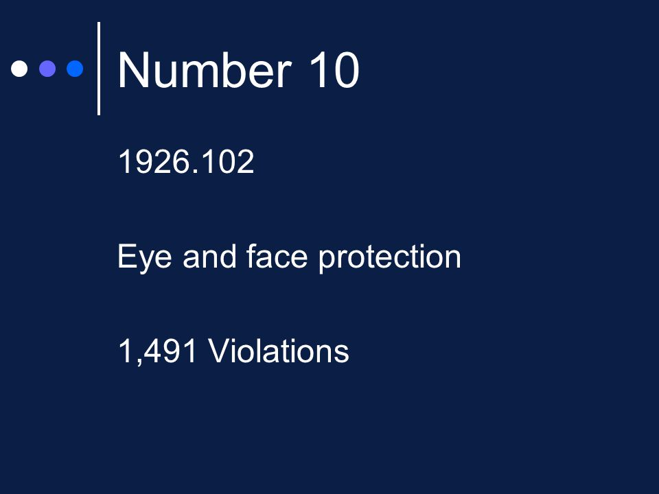 Number 10 1926.102 Eye and face protection 1,491 Violations
