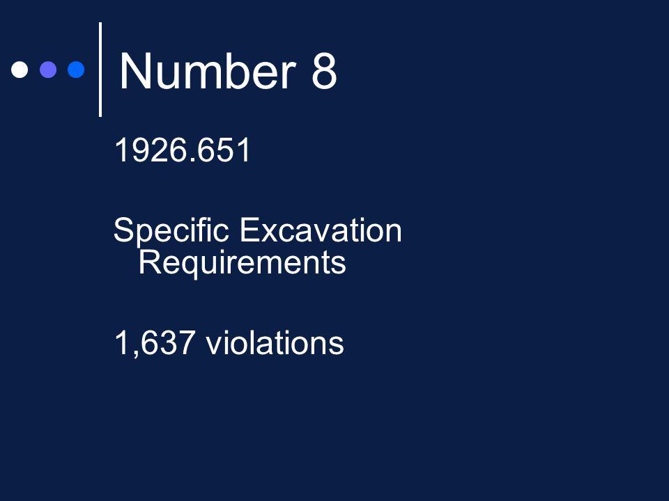 Number 8 1926.651 Specific Excavation Requirements 1,637 violations